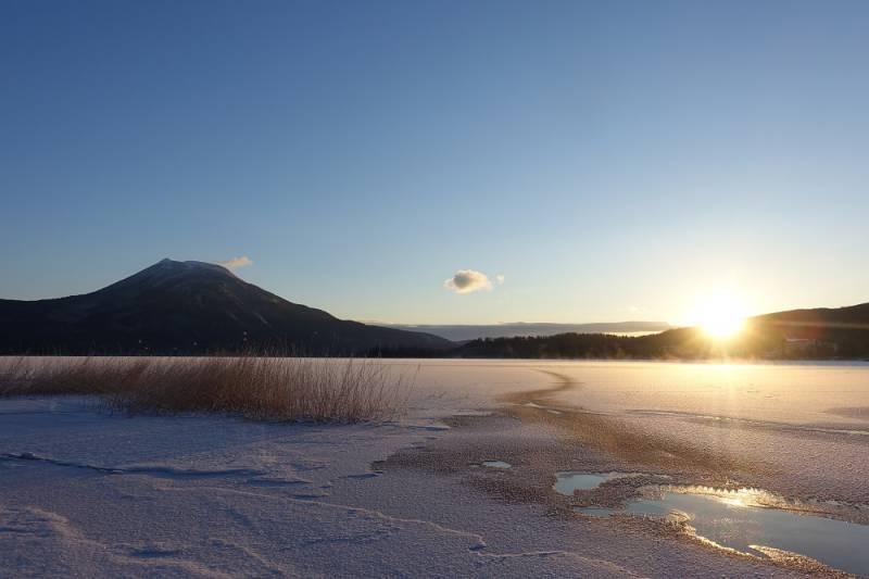 1月3日阿寒湖氷点下のご来光